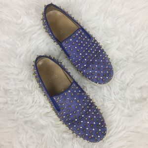 Christian Louboutin Blue Suede Spike Sneakers 40.5